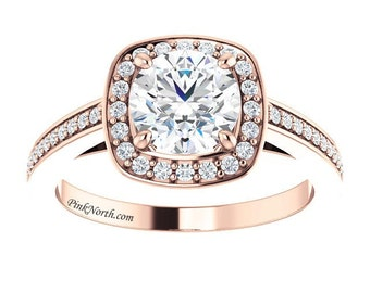 14k Rose Gold Halo Engagement Ring - 1.47ctw Round Cut Forever Brilliant Moissanite and Diamonds