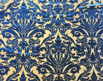 Navy Damask Burnout 4 Way Stretch Velvet Fabric - Sold By The  Yard - 60""