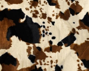 "Brown Tan Cow Velboa Faux Fur Fabric - Sold By The Yard - 58""/60"""