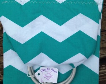 Ring sling for your dog, cat, rabbit, guinea pig, hedgehog or other pet! Up to 30 lbs. Teal chevron pattern. Large Pocket, too!
