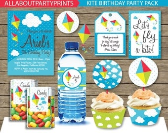PDF format-Instant Download- Kite Birthday Party Pack Printables-for personal use only