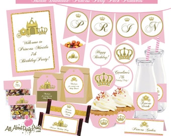 PDF format-princess themed birthday party printable- for personal use only-digital file