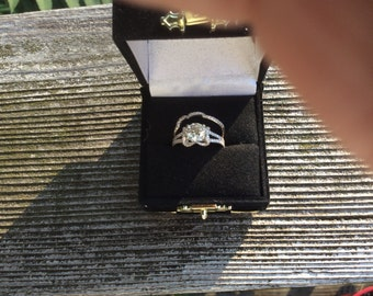Beautiful 14 K White Gold diamond engagement set size 5 1/2