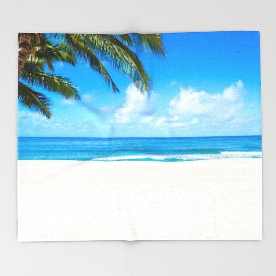 Hawaiian Beach Blanket: Tropical Beach Fleece Blanket Palm Blanket Ocean Surf