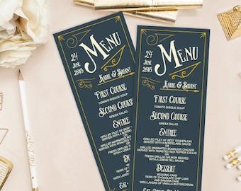 Karre Printable Wedding Menu (DIY Card), Vintage Typography, Fancy Menu - Custom menu, Customizable Text