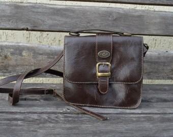 Vintage leather shoulder bag crossbody saddle bag leather purse simple leather handbag messenger bag festival bag