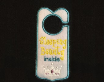 "Fancy Felt Door Hangers - ""Sleeping Beauty inside"""