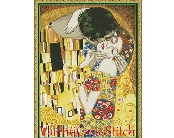 The kiss - Gustav Klimt Cross Stitch Pattern, Kiss, Cross Stitch, Pattern,Patterns, Love, Gustav Klimt, The Kiss
