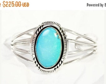 SAVE 15% Silver Navajo Turquoise Cuff Bracelet