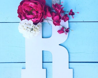 Front Door Hanger, Wood Letter Hanger, Wedding Decor, Summer Decor, Door Hanger, Flower Door Hanger, Monogram Letter, Rustic Decor