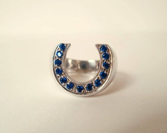 Horseshoe ring collection sapphire blue