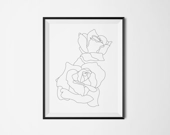 Black and White,  Rose,  Flower,  Digital Download, Printable, Minimalist, Modern, Wall Art, Decor, Simple Decor, Botanical Decor,