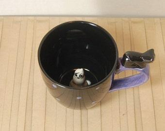 Black Cat Ghost Surprise Mug  Purple Polka dots