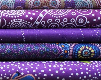Quilters Fat Quarter Bundle of 5 - Australian Aboriginal Art Fabrics  - PURPLE  #1