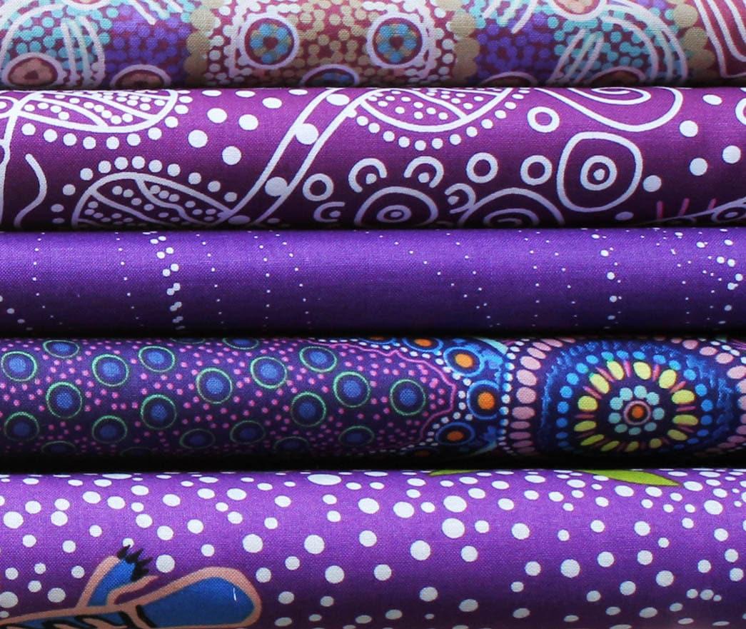 Quilters fat quarter bundle of 5 australian aboriginal art for Star fabric australia