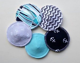 Reusable Nursing Pads, Contoured Nursing Pads, Washable Breast Pads, Ecofriendly Nursing Pads, Breastfeeding, 'Nautical Knockers' Collection