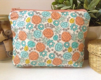 Large Zipper Bag, Organic Fabric Zipper Pouch, Makeup Bag, Cosmetic Case,Travel Makeup Bag, Fabric Zipper Bag, Floral, Flowers, Peach, Aqua