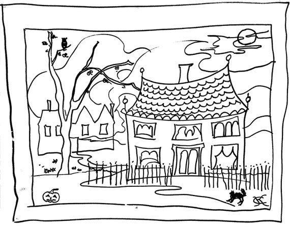 Halloween Mini Coloring Pages cards printable pdf Catinka