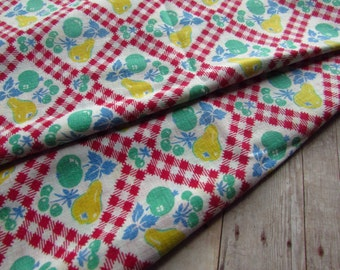 Vintage Fabric Fat Quarter - Primary Colors - Fruit and Gingham