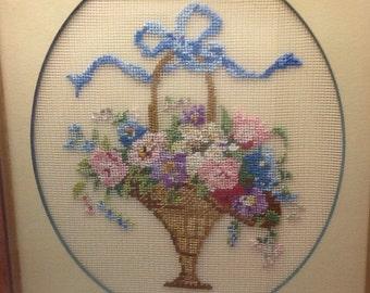 Vintage floral petit point/needlepoint