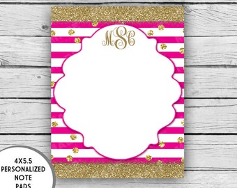 MONOGRAM Note Pad - Stripes, Glitter, Pink, Purple, Black, Green, Turquoise, Stationery, Printed Stationery