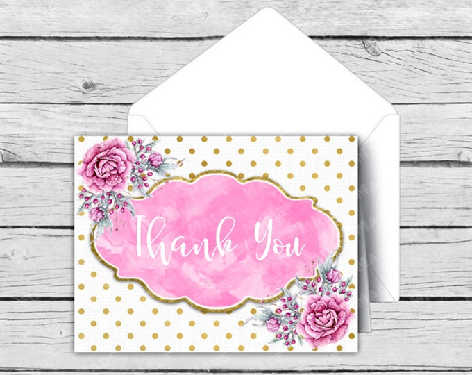 Printed THANK YOU Note Card Set - Gold Dot Pink Peony - Motivational Cards, Positive Inspiration, Printed Thank You Cards, Stationery