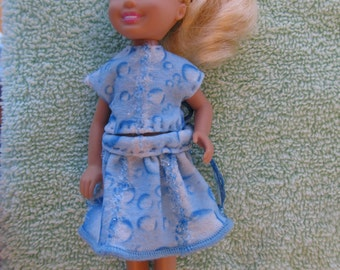 Barbie Chelsea Clothes Skirt Set Skirt and Top Blouse Aqua Blue with Sparkly Trim - NO DOLL