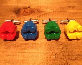 Plastic Brick Cufflinks, Red, Blue, Green, Yellow
