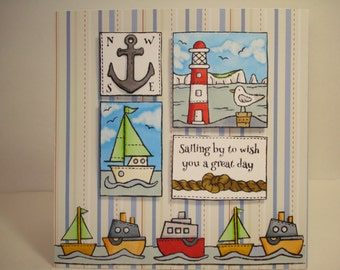 boys birthday card/ooak handmade card