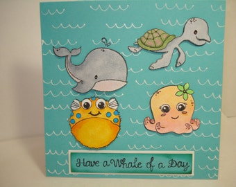 birthday card for children / sea creatures card