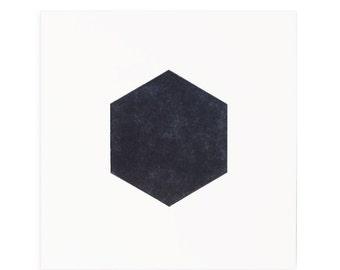 Letterpress Print, Geometric Shapes, Hexagon Art Print, Letterpress Art