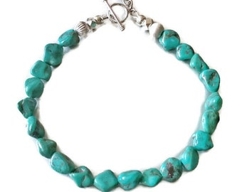 Nevada Turquoise BRACELET with Karen Hill Tribe Sterling Silver Beads and Rose Charm