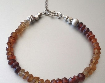 Hessonite GARNET Bracelet with Sterling Silver Karen Hill Tribe Beads 975, Clasp, Extender Chain and Flower Charm