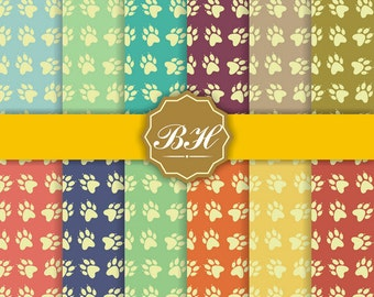 Dog Paw Digital Paper, Paw Patrol Scrapbook, Pet Pattern, Dog background, Animal Paw Papers, Party backgrounds, Instant Download