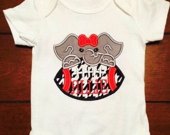 Alabama elephant football girls onesie/tshirt applique