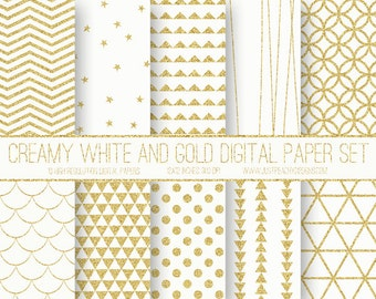 cream white and gold glitter modern digital scrapbook paper with geometric patterns