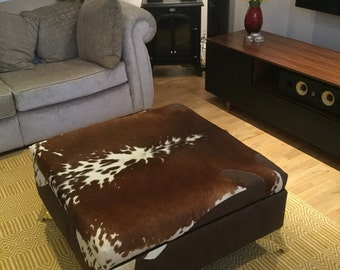 Extra Large Cowhide Footstool / Coffee / Ottoman Table With Extra Large  Storage Area
