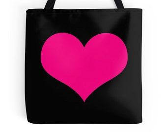 Pink Heart Bag, Hot Pink Tote Bag, Pink Heart Print, Pink Heart Tote, Hot Pink Bag, Pink Purse, Pink Tote, Pink Bookbag, Pink Black Bag