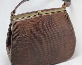 Bellstone Brown Lizard Skin Purse Handbag 1960's
