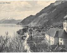 Gersau mit Pilatus, Lake Lucerne, Switzerland, Antique 1910 Unused Postcard - W. Zimmermann -  Strassler, Luzern