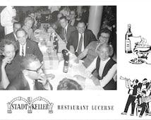 Stadt Keller Restaurant, Lucerne, Switzerland, Vintage 1960 Unused  Real Photo Tourist Souvenir Swiss Postcard, Group Photo