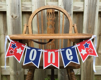 4th of July High Chair Banner Patriotic Banner Red White and Blue Banner USA party Decor American Flag Banner Cake Smash Decoration