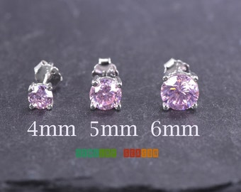 October Birthstone Earrings Girls 4mm 5mm 6mm Pink Cubic Zirconia Silver Stud Toddler Childrens Push Back Cute Earring