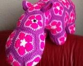 Crochet hippo toy cushion