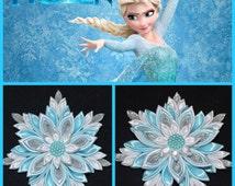 "Handmade ""Frozen"" ELSA Inspired Girl's Hair Clip/Bow, Kanzashi Style, CHRISTMAS"