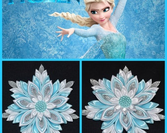 "Handmade ""Frozen"" ELSA Inspired Girl's Hair Clip/Bow, Kanzashi Style, Hair Flower, Alligator Clip, FREE UK Delivery"
