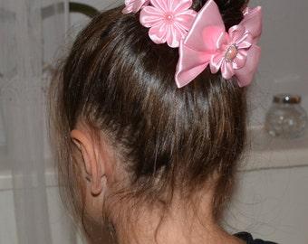 Handmade Girl's Pink Flower Bun Wrap/Top Knot, Kanzashi Style, Christmas