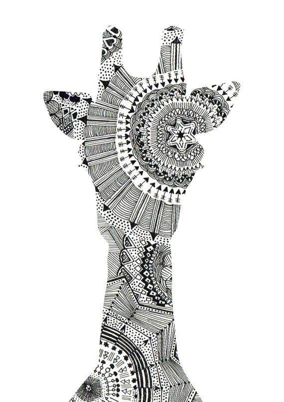 Items similar to mandala giraffe head art print on etsy for Giraffe mandala coloring pages