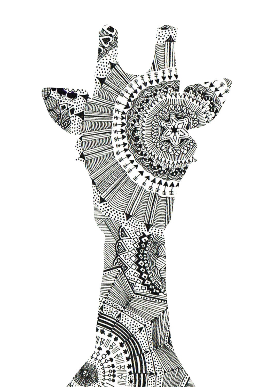 Mandala giraffe head art print by thehouseofalchemy on etsy for Giraffe mandala coloring pages