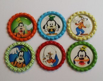 Set of 6 Goofy themed Finished Bottle Caps - Magnets - Necklaces